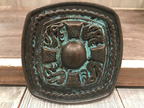 Brass square belt buckle with Turquoise Patina