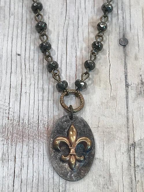 Gold Fleur de lis pendant with pyrite rosary chain