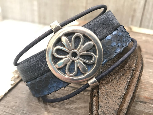 Blue leather cuff with silver flower connector slider & magnetic clasp