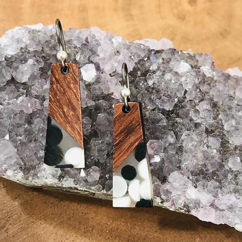 Walnut Wood and Black/White Dot Resin Earrings