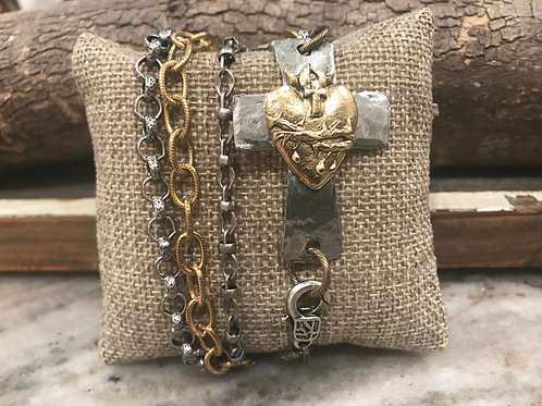 Silver and gold connector cross with multi chain wrap