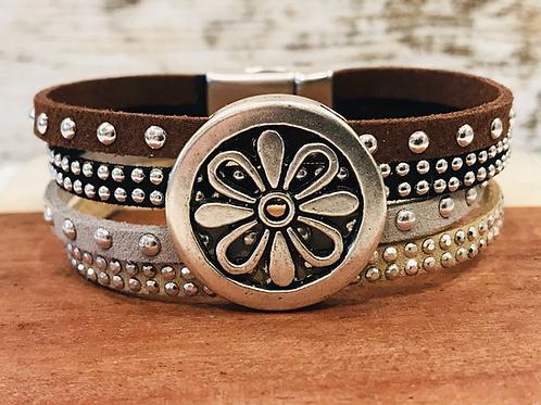 Antique Silver Flower Slider Bracelet with Multi Beaded Suede .