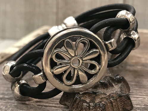 Leather Silver Floral connector with silver sliders & Magnet closure
