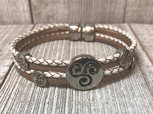 Multi leather bracelet with swirl sliders