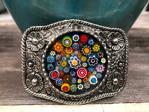 Silver buckle with Millifiore beads
