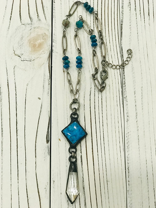 Blue  Crazy Lace Pendant with Crystal Drop