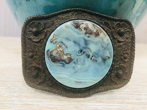 Rustic Silver Dollar Aqua Terra Agate Coin Stone