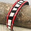 Thumbnail: Zebra fur and red leather cuff with silver slider and magnet clasp