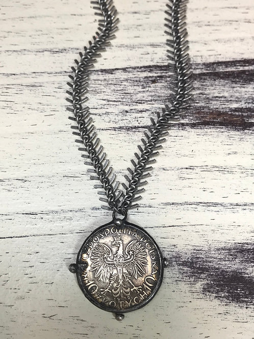 Soldered coin pendant with Fishtail chain