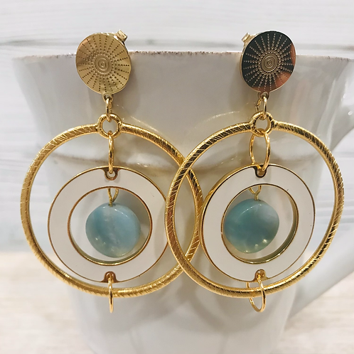 Gold Ring Earrings  with Amanozite Drop