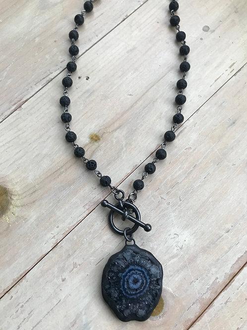 Black Solar quartz pendant with toggle and black lava rosary chain