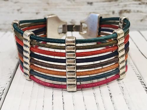 Vintage Distressed Multi colored Leather Bar Bracelet