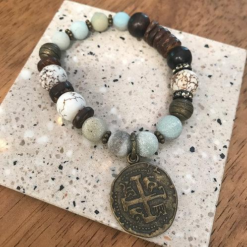 Beaded cross charm bracelet