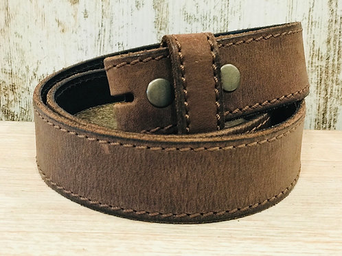 Brown Stitched Leather Belt