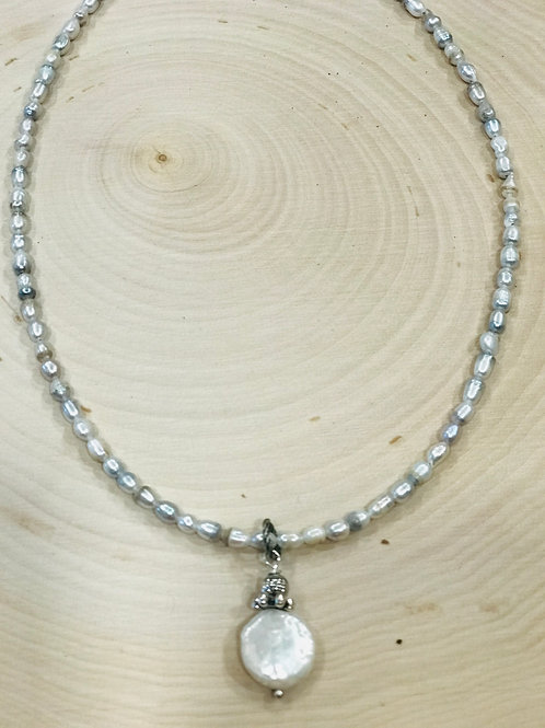 Dainty Freshwater Pearl necklace with Coin Pearl Drop