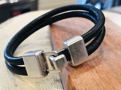 Black Round Leather Bracelet with Buckle Closure