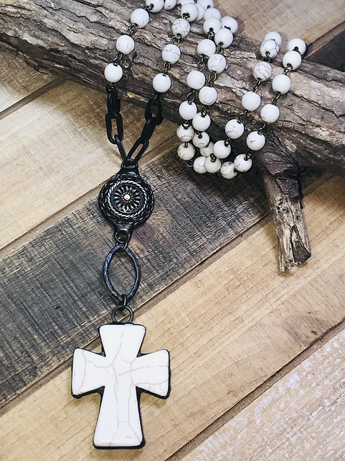 Magnesite Cross with Brass connector and Magnesite Rosary Chain