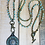 Thumbnail: Beaded Aqua Button Pendant with Crocheted Necklace