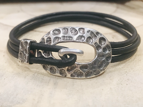 Oval Hammered Leather Bracelet