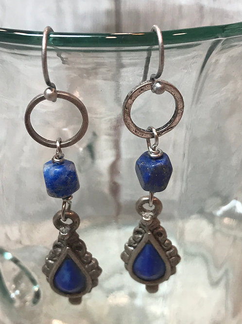 Blue Lapis and Silver earrings