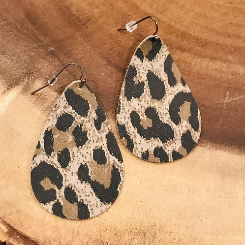 Tan Leopard Print Teardrop Earrings