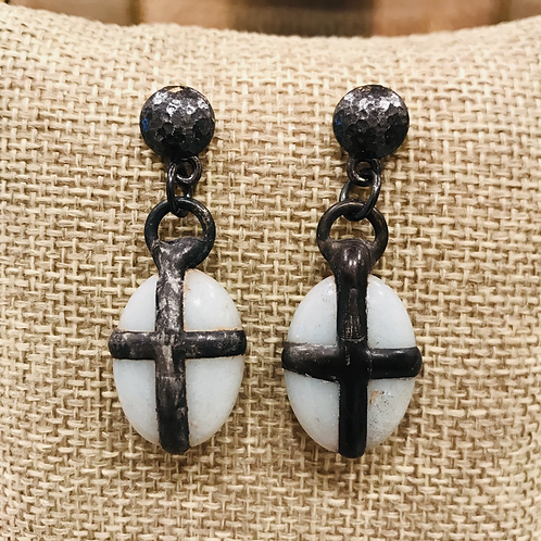 Soldered Cross Gemstone Earrrings with Gunmetal Posts