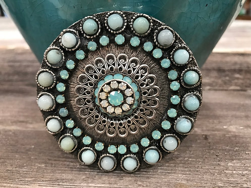 Round silver buckle with pacific opal crystals