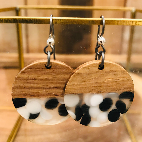 Walnut Wood and Resin Dot Round Earrings