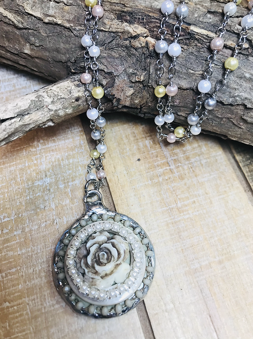 Beige Rose Pendant with Pearl Beads and Rosary Chain