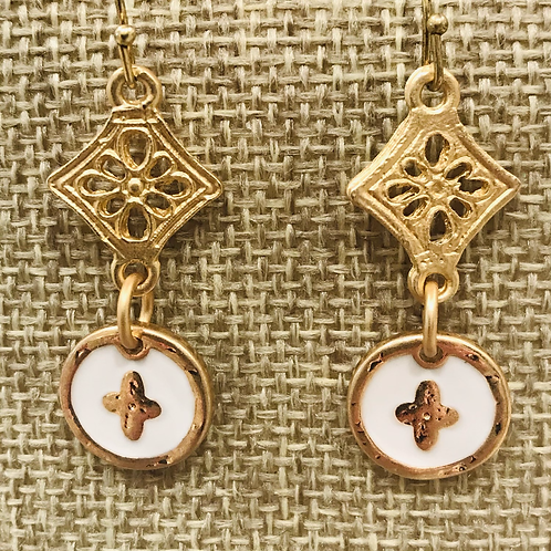 Round Gold and White Enamel Earrings