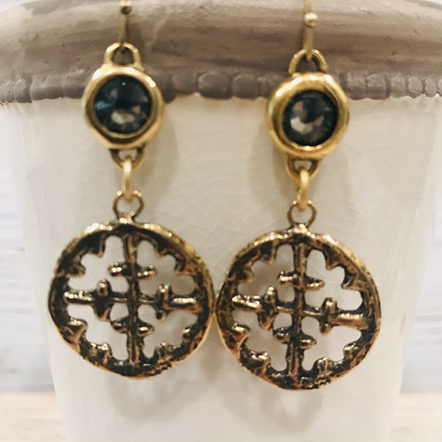 Gold Cross Earrings with Smokey Grey Crystals