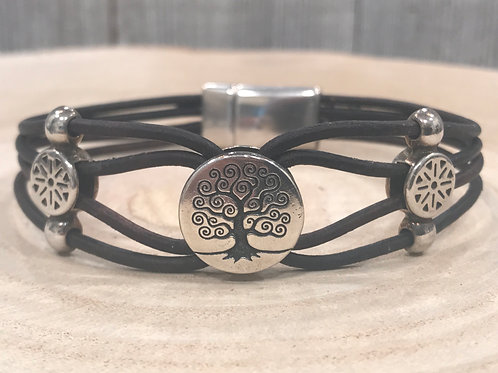 Tree of life silver slider bracelet with leather and magnet clasp