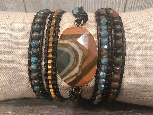 Beaded Succor Creek Jasper 5 Wrap Bracelet