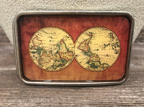 World clock brown belt buckle