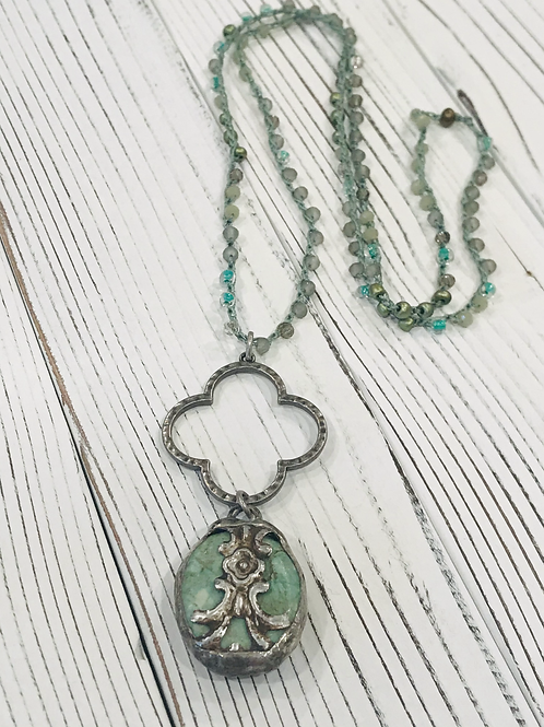 Soldered Flower Blue Peruvian Opal Pendant with Beaded Crocheted Chain
