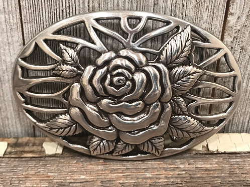 Silver Rose and Vines Oval buckle