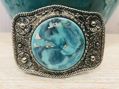 Aqua Terra Agate Silver Dollar Buckle