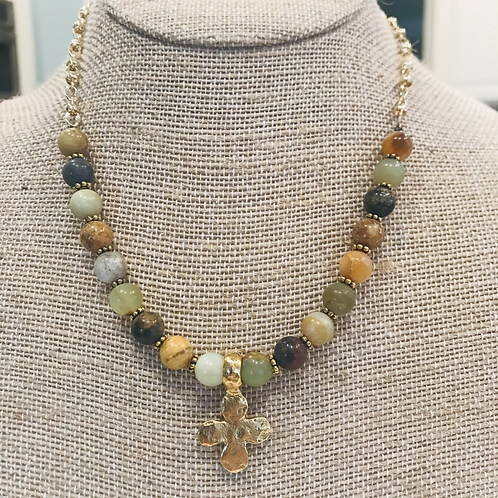 Flower Jade Faceted Bead and Gold Cross necklace