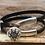 Thumbnail: Silver Button Wishbone Leather Bracelet