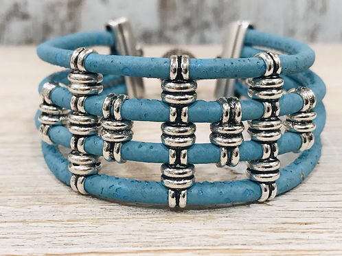 Baby Blue Portuguese Cork Bracelet with Multi Silver Sliders