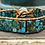 Thumbnail: Single wrap composite turquoise and leather bracelet with button closure