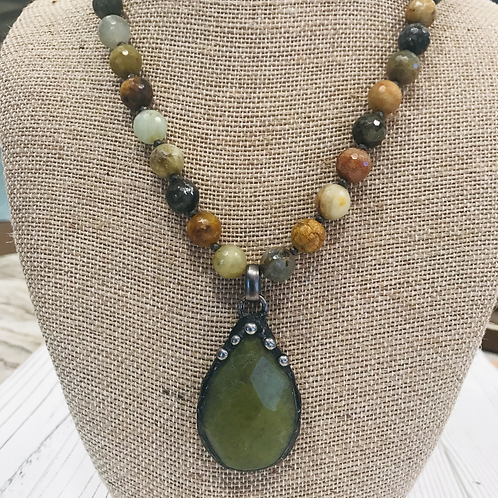 Soldered Jade Pendant with Faceted Flower Beads