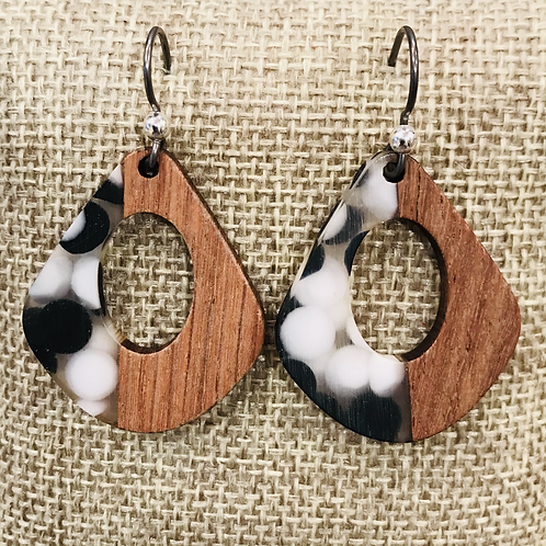 Walnut Wood and Black/White Resin Earrings