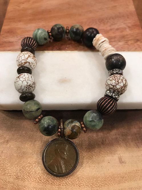 African Turquoise Beaded Bracelet with Coin Charm