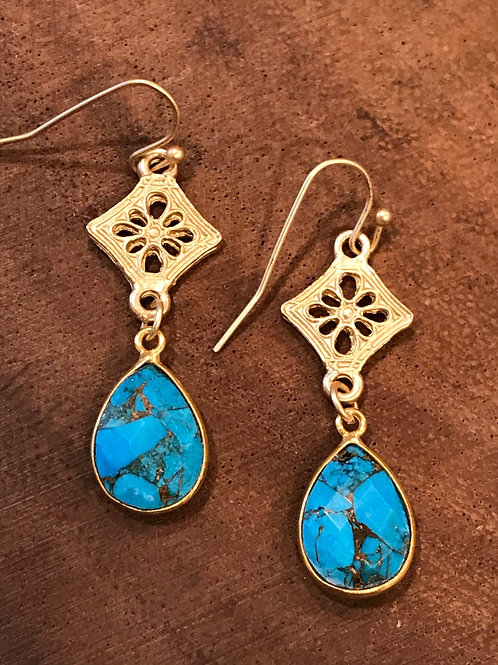 Gold Bezeled Teardrop Earrings with Matte Gold Connector