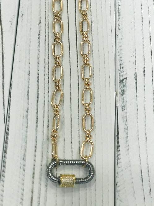 Gold Chain with Pave Carabiner Paper Clip Clasp