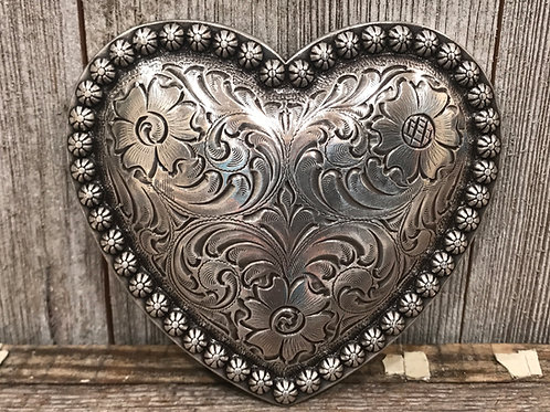 Silver Engrave Heart Belt buckle