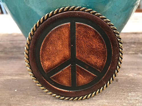 Round Leather Peace Belt buckle