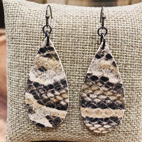 Leather Teardrop Animal Print Earrings