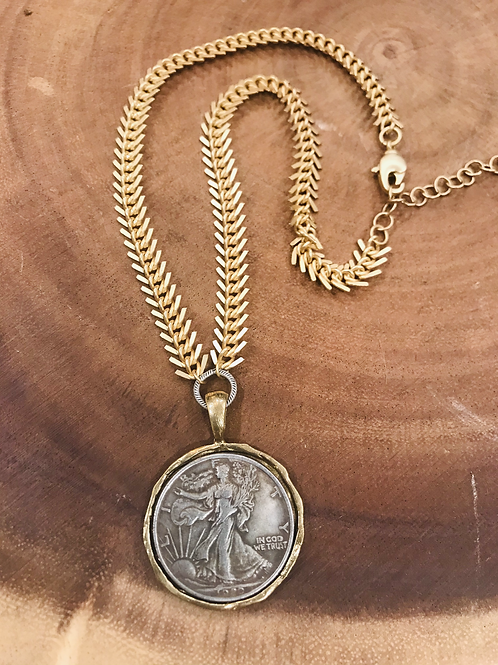 Gold Bezel Silver Coin Necklace with Fishtail Necklace